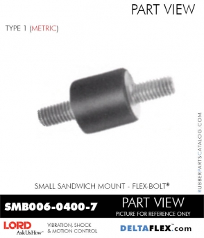 Smb006 0400 7 Lord Small Metric Threads Rubber Sandwich